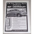 1941 Chevrolet Sedan Automobile Vintage Print Car Ad - Facts..Features..Figures