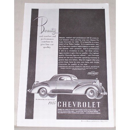 1935 Chevrolet Master Deluxe Sport Coupe Automobile Vintage Print Car Ad