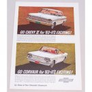1963 Chevy II Corvair Automobile Color Print Car Ad