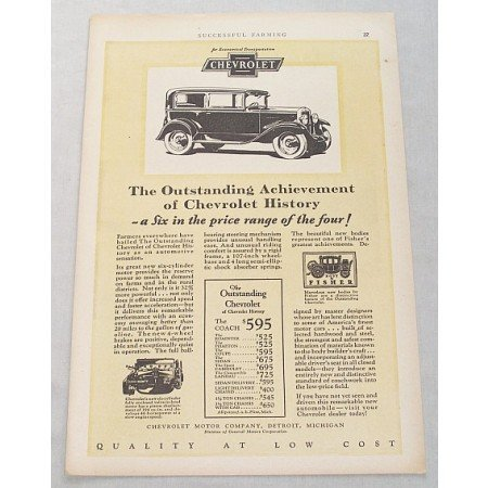 1929 Chevrolet Coach 2DR Sedan Automobile Vintage Print Car Ad