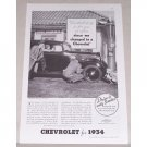 1934 Chevrolet Master Six Coach Automobile Vintage Print Car Ad
