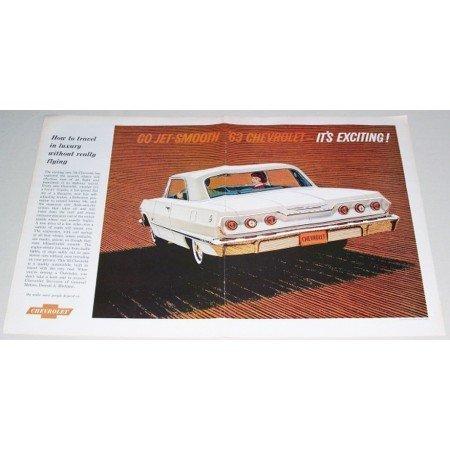 1963 Chevrolet Impala 2 Door Automobile 2 Page Color Print Car Ad