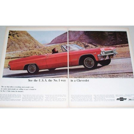 1965 Chevrolet Impala SS Convertible Automobile 2 Page Color Print Car Ad