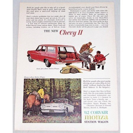 1962 Chevy II Nova Monza Station Wagons Automobile Hunting Art Color Print Car Ad
