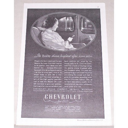 1935 Chevrolet Vintage Print Ad - Shines Brightest After 10,000 Miles