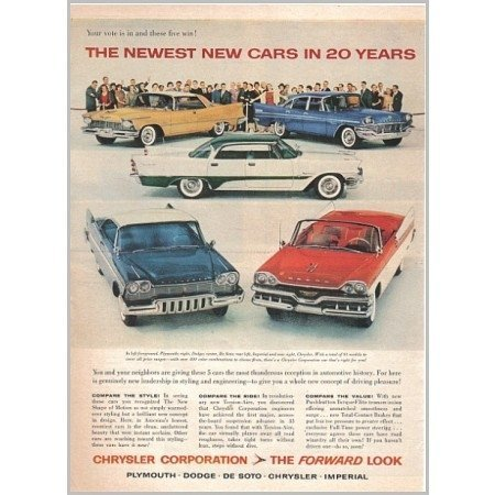 1957 Chrysler Corp 5 Models Automobile Color Print Car Ad