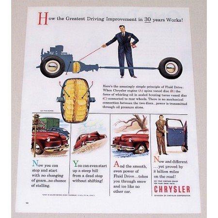 1945 Chrysler Color Print Ad - Greatest Driving Improvment