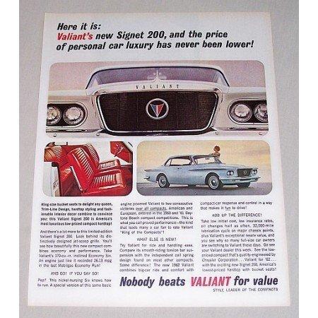 1962 Chrysler Valiant 2 Door Hardtop Automobile Color Print Car Ad
