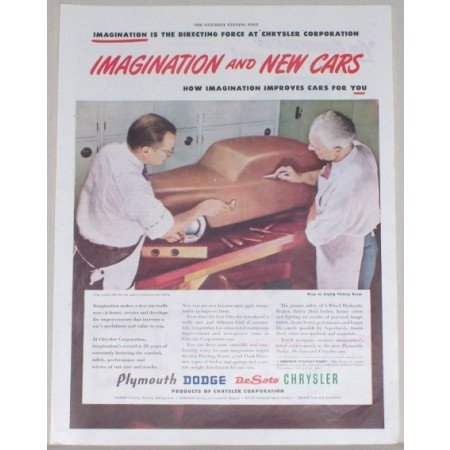 1945 Chrysler Corporation Color Print Ad - Clay Model Body Styling