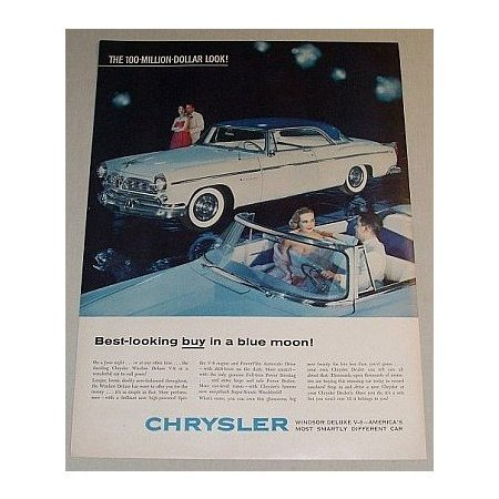 1955 Chrysler Windsor Deluxe Automobile Color Print Car Ad