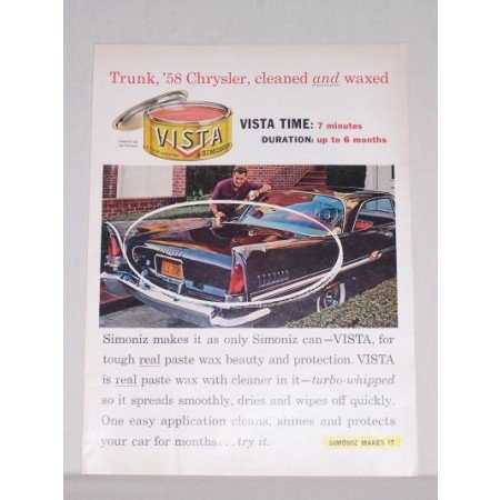 1958 Simoniz Vista Car Wax 58 CHRYSLER Automobile Color Print Car Ad