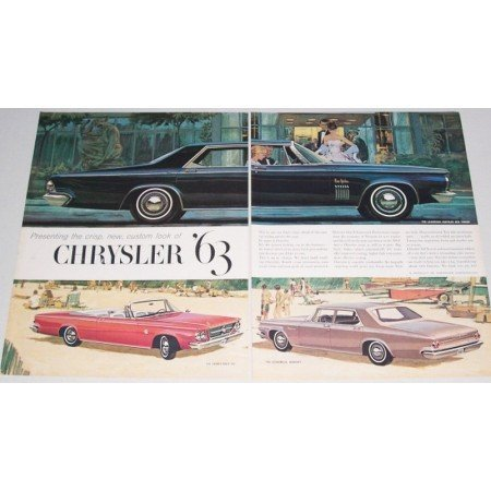 1963 Chrysler New Yorker Automobile 2 Page Color Print Car Ad