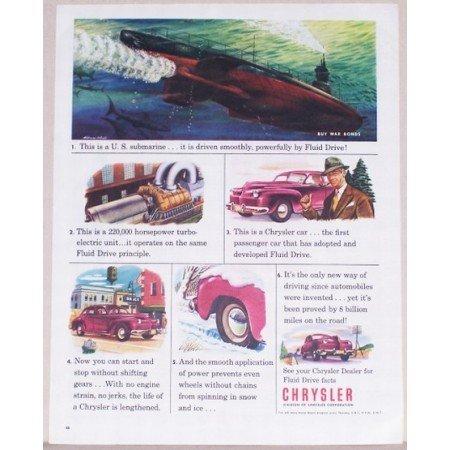 1945 Chrysler Corp. U.S. SUBMARINE Color Wartime Art Color Print Ad