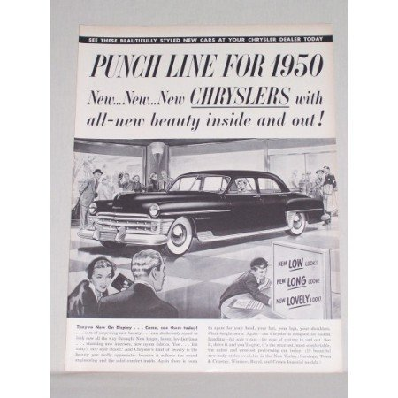 1950 Chrysler New Yorker Sedan Automobile Vintage Print Car Ad - Punch Line