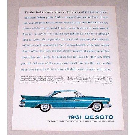 1961 DeSoto 2DR Hardtop Automobile Color Print Car Ad