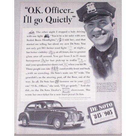 1940 DeSoto Automobile Vintage Print Car Ad - Ok Officer I'll Go Quietly
