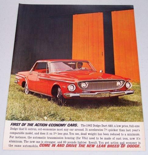1962 Dodge Dart 440 Automobile Color Print Car Ad