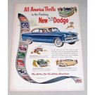 1953 Dodge Coronet 4 Door Automobile Color Print Car Ad - All American Thrills