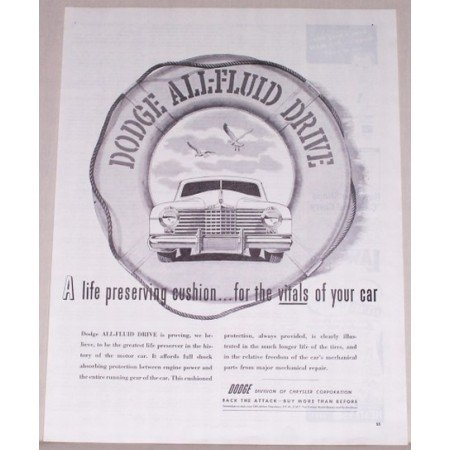 1944 Dodge All-Fluid Drive Vintage Print Ad - Life Preserving Cushion