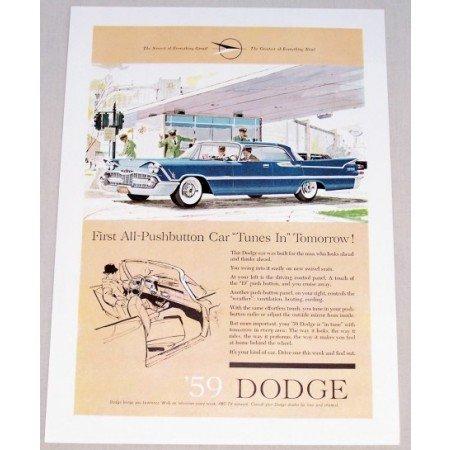 1959 Dodge Royal Sedan Automobile Color Print Car Ad - Tunes In