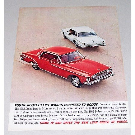 1962 Dodge Dart 440 Lancer GT Automobile Color Print Car Ad