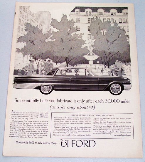 1961 Ford Galaxie Automobile Vintage Print Car Ad