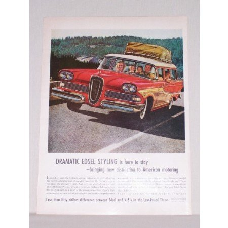 1958 Ford Edsel Station Wagon Automobile Color Print Car Ad