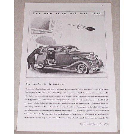 1935 Ford Sedan Automobile Vintage Print Car Ad - Real Comfort