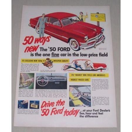 1949 Color Print Art Ad for 1950 Ford Custom Sedan Automobile