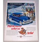 1950 Ford 4DR Custom Sedan Automobile Color Print Car Ad