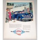 1946 Ford Super Deluxe Automobile Art Color Print Car Ad