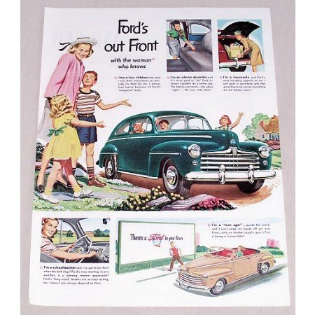 1947 Ford 2DR Sedan Automobile Color Print Car Ad - Ford Out Front