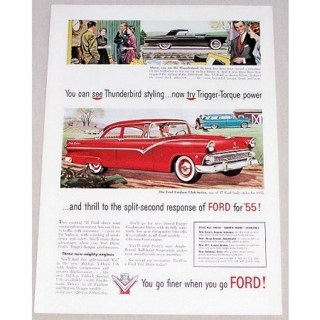 1955 Ford Fairlane Club Sedan Automobile Color Print Car Ad