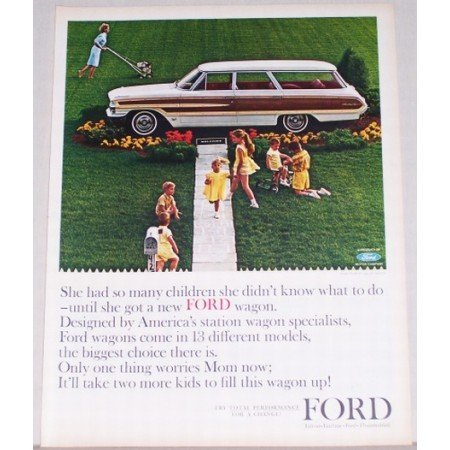 1964 Ford Country Squire Wagon Automobile Color Print Car Ad
