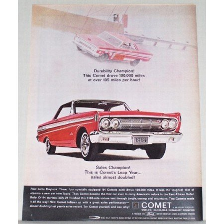 1964 Ford Comet Automobile Color Print Car Ad - First Came Daytona