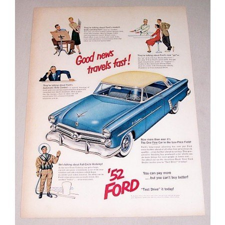 1952 Ford Crestline Automobile Color Print Car Ad - Good News