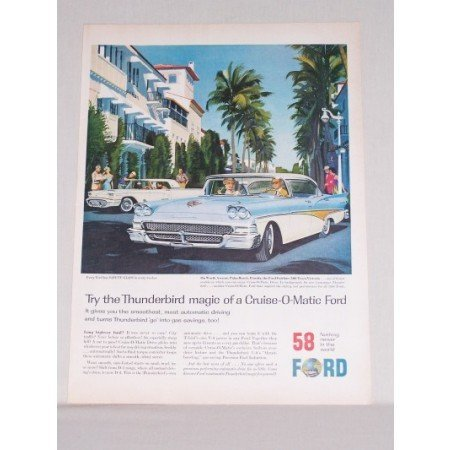 1958 Ford Fairlane 500 Town Victoria Automobile Color Print Car Ad