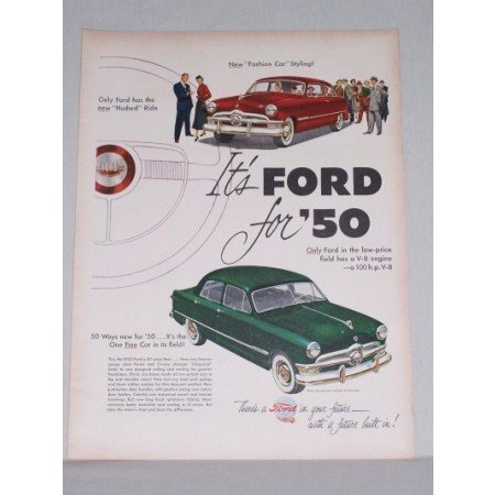 1950 Ford Custom Sedan Automobile Color Print Car Ad - Fashion Car