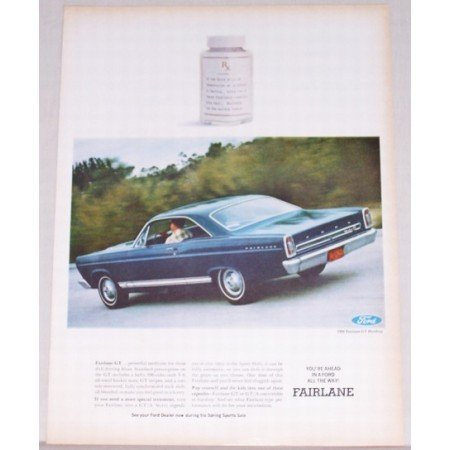 1966 Ford Fairlane GT Hardtop Automobile Color Print Car Ad