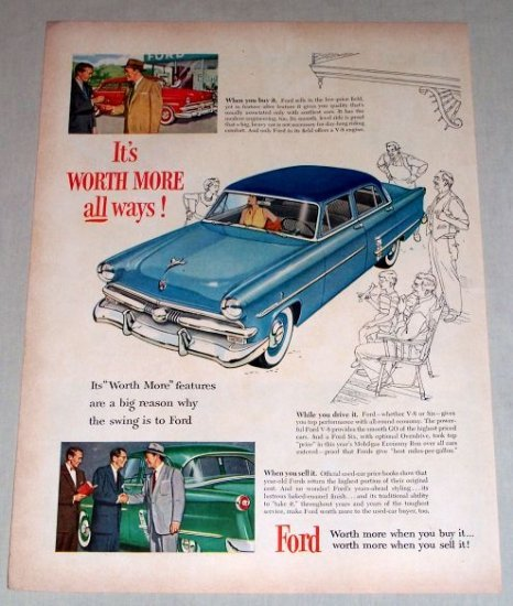 1953 Ford 4Dr Custom Sedan Automobile Color Print Car Ad