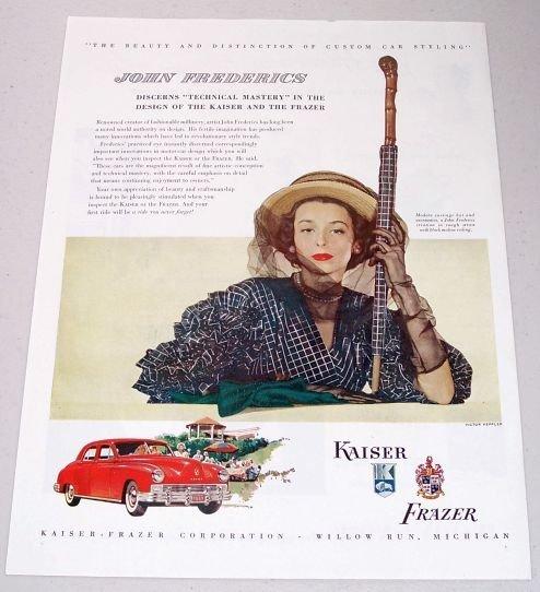 1948 Kaiser Frazier Sedan Automobile Color Print Car Ad - John Frederics