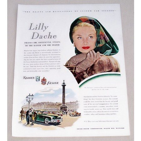 1947 Kaiser Frazer Automobile Art Color Print Car Ad - Lilly Dache