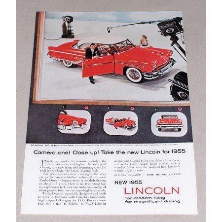 1955 Lincoln Capri Automobile Color Print Car Ad Celebrity Ed Sullivan