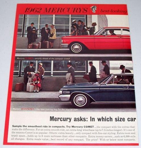 1961 Color 2 Page Car Ad for 1962 Mercury Comet Monterey Automobile