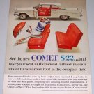 1962 Mercury Comet S-22 Automobile Color Print Car Ad
