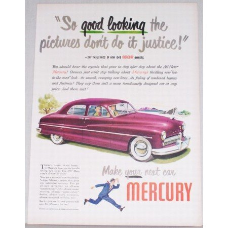 1949 Mercury Sedan Automobile Art Color Print Car Ad