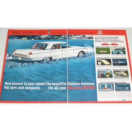 1962 Mercury Meteor 4 Door Automobile 2 Page Color Print Car Ad