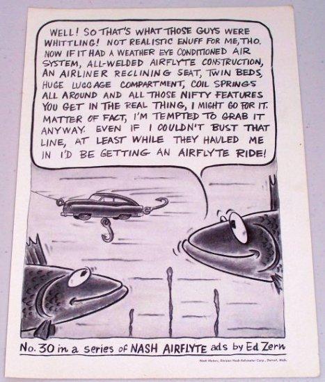 1951 Nash Airflyte Ed Zern Art Series #30 Automobile Vintage Print Car Ad