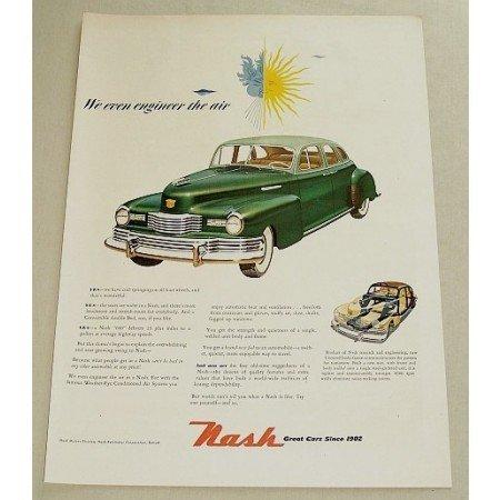 1948 Nash 4 Dr Sedan Automobile Color Print Car Ad