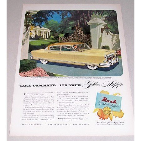 1952 Nash Ambassador Custom 4 Door Automobile Color Print Car Ad